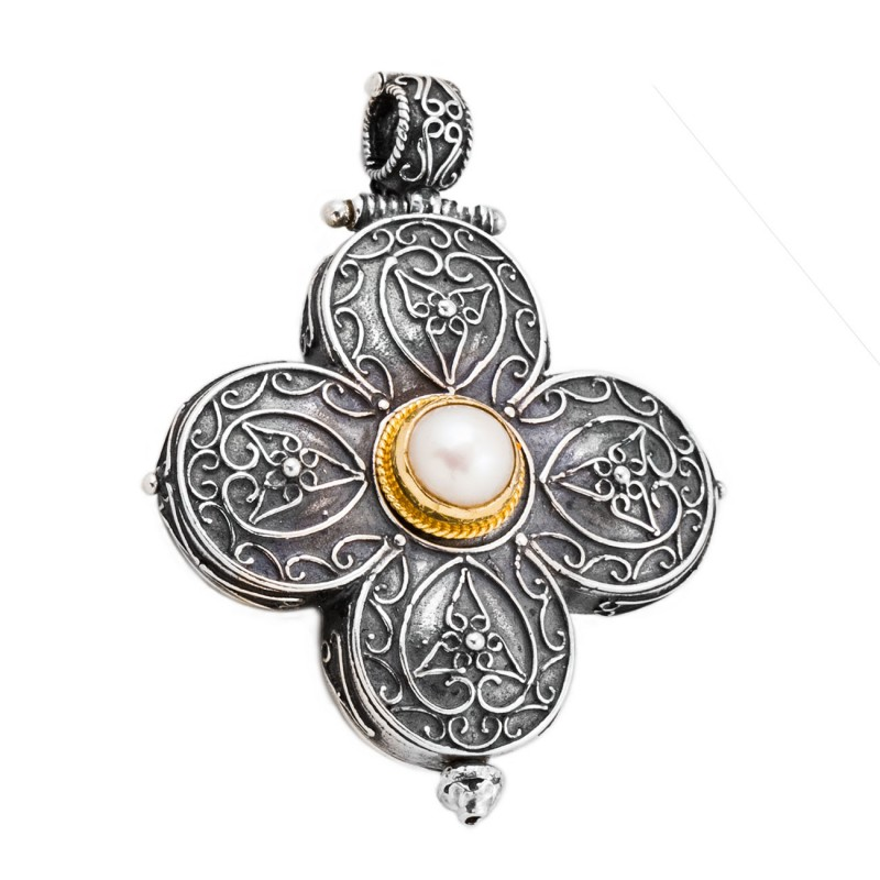 St220 quatrefoil large cross pendant sterling silver culturetaste st220 sterling silver and pearl medieval byzantine cross pendant mozeypictures Image collections