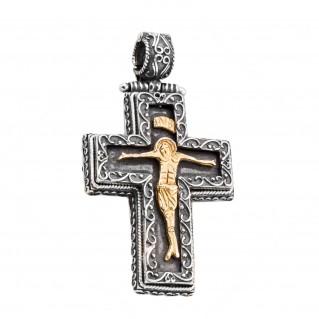 ST221 ~ Sterling Silver Byzantine Crucifix Cross Pendant