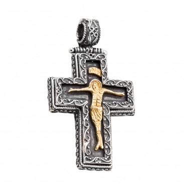 ST221 ~ Sterling Silver Byzantine Crucifix Cross Pendant