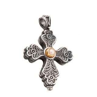 ST223 ~ Sterling Silver and Pearl - Medieval Byzantine Cross Pendant
