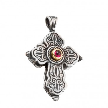 ST225 ~ Sterling Silver and Garnet - Medieval Byzantine Cross Pendant