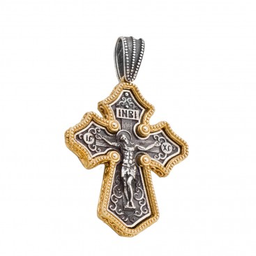 ST234 ~ Sterling Silver Byzantine Crucifix Cross Pendant