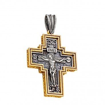 ST235 ~ Sterling Silver Byzantine Crucifix Cross Pendant