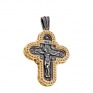 ST236 ~ Sterling Silver Byzantine Crucifix Cross Pendant