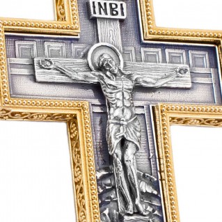 ST238 ~ Sterling Silver & Swarovski Large Byzantine Crucifix Cross