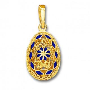 Ornate Rosette Filigree Egg Pendant ~ 14K Solid Gold and Hot Enamel A/XLarge