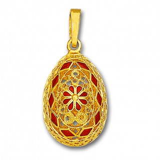 Ornate Rosette Filigree Egg Pendant ~ 14K Solid Gold and Hot Enamel A/XLarge