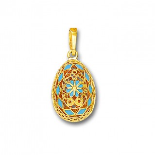 Ornate Rosette Filigree Egg Pendant ~ 14K Solid Gold and Hot Enamel A/Small
