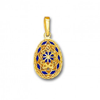 Ornate Rosette Filigree Egg Pendant ~ 14K Solid Gold and Hot Enamel A/Small