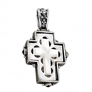 ST76 ~ Sterling Silver and Mother of Pearl - Medieval Byzantine Cross Pendant
