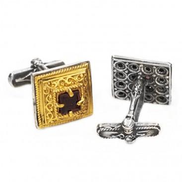 MA15 ~ Sterling Silver & Garnet Medieval - Byzantine Cufflinks