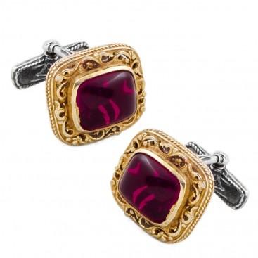 MA19 ~ Sterling Silver & Garnet Medieval Byzantine Cufflinks
