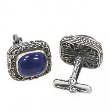MA19-1 ~ Sterling Silver & Lapis Medieval Byzantine Cufflinks
