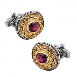 MA20-1 ~ Sterling Silver & Tourmaline Gemstones Medieval Byzantine Cufflinks