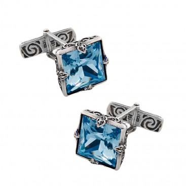 MA21 ~ Sterling Silver & Swarovski Medieval Byzantine Cufflinks