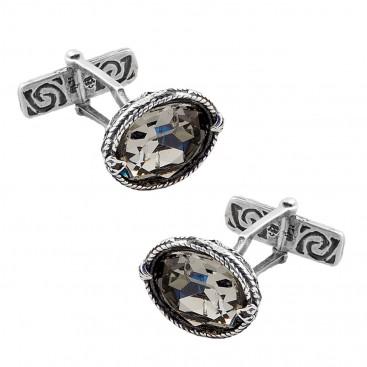 MA23 ~ Sterling Silver & Swarovski Medieval Byzantine Cufflinks