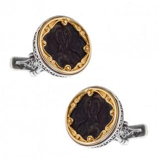 MA25-2 ~ Silver & Bronze - Byzantine Christ coin Cufflinks