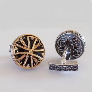 MA31 ~ Silver & Enamel Medieval Byzantine Cufflinks