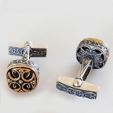MA37 ~ Sterling Silver & Enamel Medieval Byzantine Cufflinks