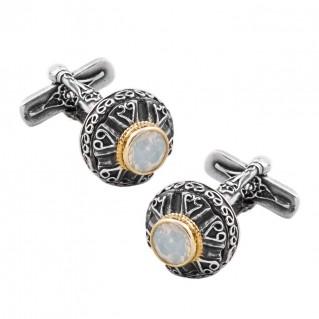 MA44 ~ Sterling Silver & Swarovski Medieval - Byzantine Cufflinks