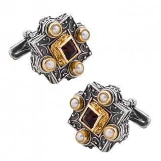 MA45 ~ Silver, Swarovski & Pearls Medieval Byzantine Cufflinks