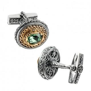 MA49 ~ Sterling Silver & Swarovksi Medieval Byzantine Cufflinks