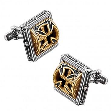 MA50 ~ Sterling Silver & Enamel Medieval-Byzantine Cross Cufflinks
