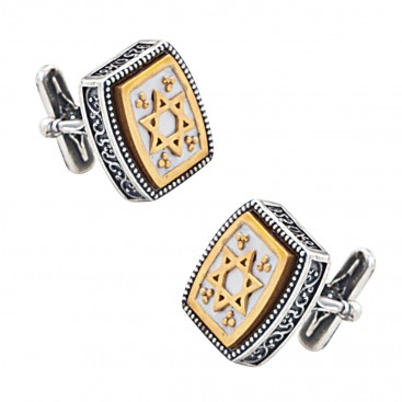 MA56 ~ Sterling Silver & Enamel Star of David Cufflinks