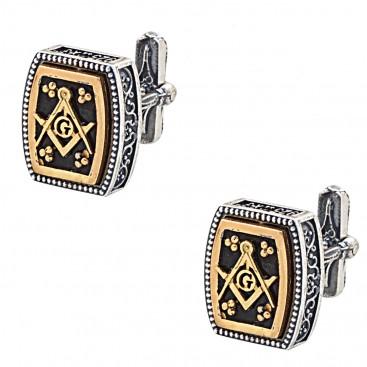 MA57 ~ Sterling Silver & Enamel Masonic Cufflinks