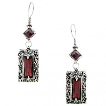 S136 ~ Sterling Silver and Swarovski - Medieval Byzantine Earrings