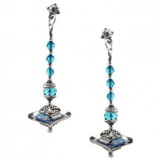 S137 ~ Sterling Silver and Swarovski Long Earrings