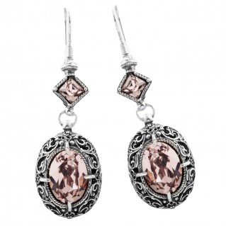 S141 ~ Sterling Silver and Swarovski - Medieval Byzantine Earrings