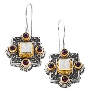 S194 ~ Sterling & Gold Plated Silver with Swarovski - Medieval Byzantine Earrings