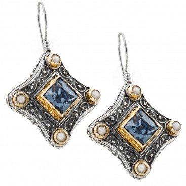 S196 ~ Sterling & Gold Plated Silver with Swarovski - Medieval Byzantine Earrings