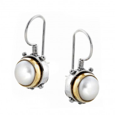 S203 ~ Sterling Silver and Pearls - Medieval Byzantine Earrings
