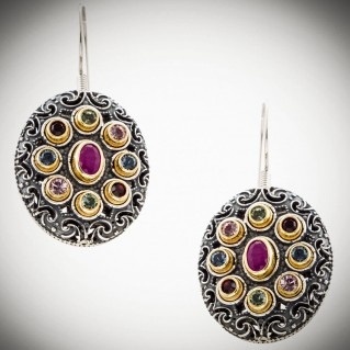 S212 ~ Sterling Silver, Ruby & Swarovski - Medieval Byzantine Earrings