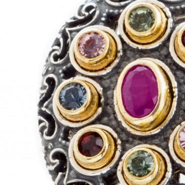 S212 ~ Sterling Silver, Ruby & Swarovski - Medieval Byzantine Earrings