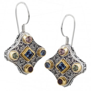S213 ~ Silver with Stones - Medieval Byzantine Drop Earrings