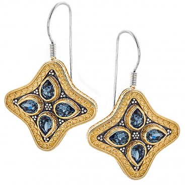 S214 ~ Sterling & Gold Plated Silver with Swarovski - Medieval Byzantine Earrings