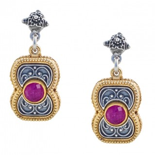 S219 ~ Sterling Silver and Gemstones - Medieval Byzantine Earrings