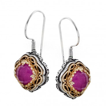 S223 ~ Sterling Silver and Stones - Medieval Byzantine Earrings