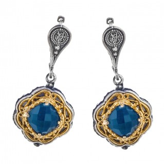 S223-1 ~ Sterling Silver & Apatite - Medieval Byzantine Earrings