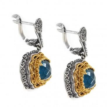 S223-1 ~ Sterling Silver & Apatite - Medieval Byzantine Earrings