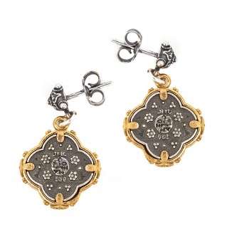 S224 ~ Sterling Silver and Swarovski - Medieval Byzantine Earrings
