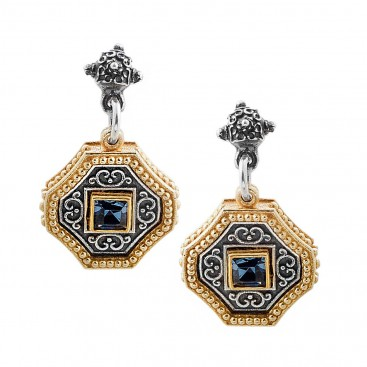 S227 ~ Sterling Silver and Swarovski - Medieval Byzantine Earrings
