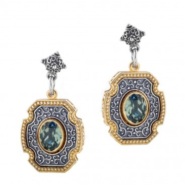 S228 ~ Sterling Silver and Swarovski - Medieval Byzantine Earrings