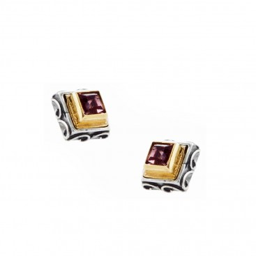 S232 ~ Sterling Silver with Swarovski - Medieval Byzantine Stud Earrings