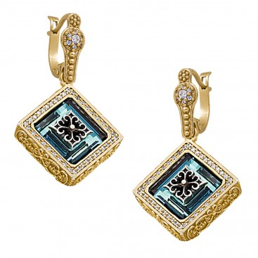 S236 ~ Sterling Silver & Swarovski - Medieval Byzantine Earrings