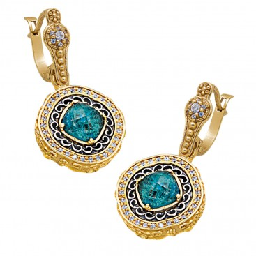 S237 ~ Sterling Silver Doublet Drop Earrings with Quartz over Chrysocolla