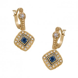 S238 ~ Gold Plated Silver Drop Earrings with Swarovski Cystals